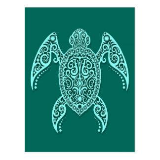 De ingewikkelde Blauwgroen Blauwe Schildpad van he Briefkaart