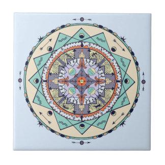 De inheemse Ceramiektegel van Mandala van Symbolen Keramisch Tegeltje