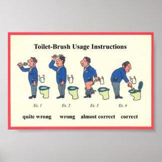 De Instructies van de Borstel van het toilet Poster