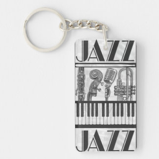 De Instrumenten Zwart-witte Keychain van de Muziek Sleutelhanger