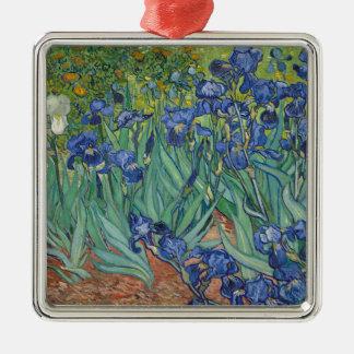 De Irissen die van Vincent van Gogh het Werk van Zilverkleurig Vierkant Ornament