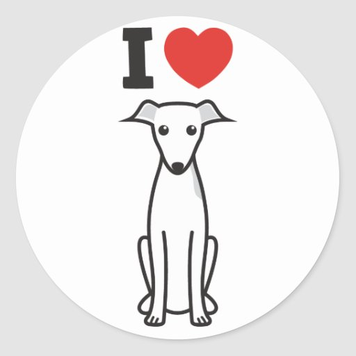 De Italiaanse Cartoon van de Hond van de Windhond Ronde Stickers
