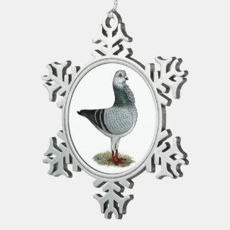 De Italiaanse Duif van Grizzle van de Uil Tin Sneeuwvlok Ornament