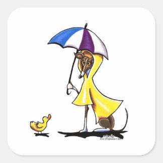 De Italiaanse Regenjas van de Windhond Vierkante Stickers