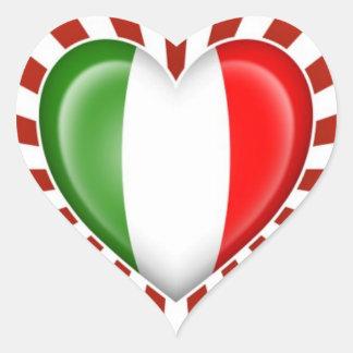 De italiaanse vlag van het hart met de uitbarsting hartvormige sticker