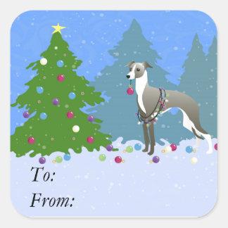 De Italiaanse Whippet die van de Windhond Kerstmis Vierkante Stickers