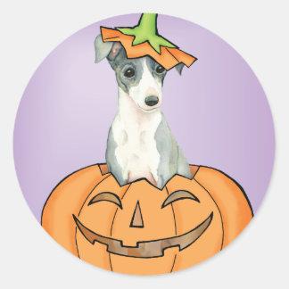 De Italiaanse Windhond van Halloween Ronde Stickers