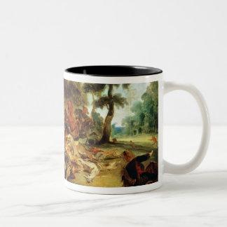 De jacht van het Everzwijn Tweekleurige Koffiemok