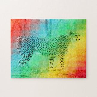 De Jachtluipaard van de regenboog Legpuzzel