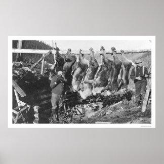 De Jagers Alaska 1928 van de kariboe Poster