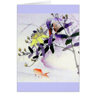 De Japanse druk van de Ijsvogel van de goudvis Briefkaarten 0