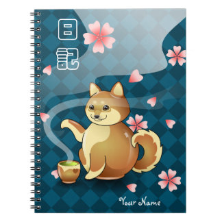 De Japanse Gepersonaliseerde Agenda van Shiba Inu Ringband Notitieboek