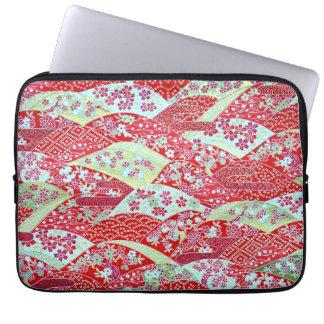 De Japanse Rode BloemenOrigami Yuzen van de Kunst Laptop Sleeve