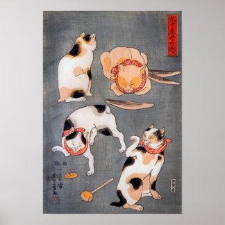 De Japanse ukiyo-E Kunst van vier Katten Utagawa Poster