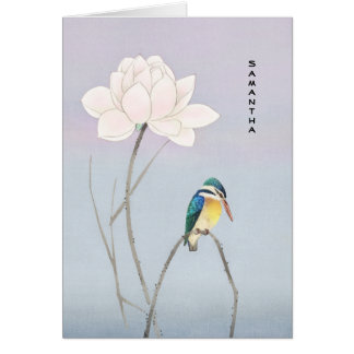 De Japanse Vintage Ijsvogel Lotus van het monogram Briefkaarten 0