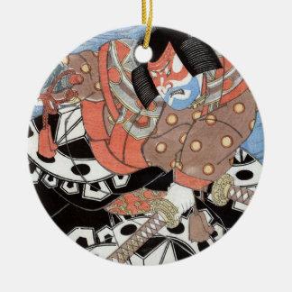 De Japanse Vintage Strijder van Samoeraien Rond Keramisch Ornament