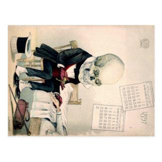 de jaren 1900 schedel, skelet farmaceutische briefkaart