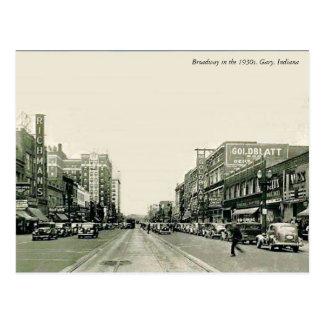 De jaren '30 Gary, Indiana van Broadway Briefkaart