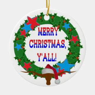 De Jonge os van de kerstman - Vrolijke Kerstmis Rond Keramisch Ornament