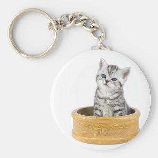 De jonge zilveren zitting van de gestreepte katkat basic ronde button sleutelhanger