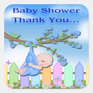 De Jongen van het baby - de Binnenplaats dankt u Vierkante Stickers