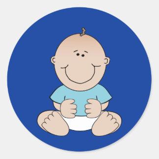 De Jongen van het baby in de Blauwe Sticker van