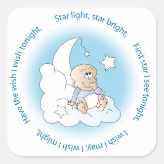 De Jongen van het baby maakt een Wens Vierkante Sticker
