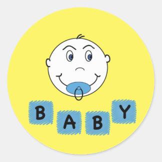 De Jongen van het baby met Binky Ronde Stickers