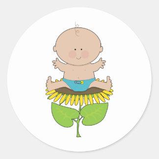 De Jongen van het Baby van de zonnebloem Ronde Stickers