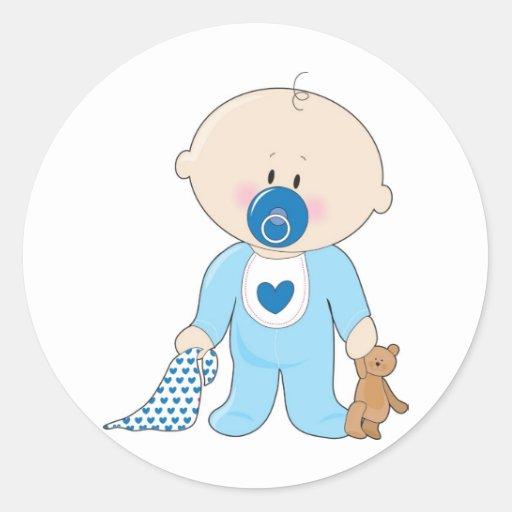 De jongen van soother van het baby ronde stickers zazzle - Turquoise ruimte van de jongen ...