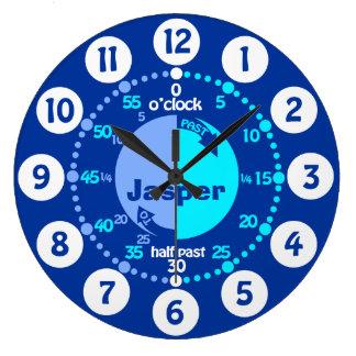 De jongens leren om tijd blauwe genoemde klok te