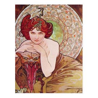De Jugendstil van het serpent Briefkaart