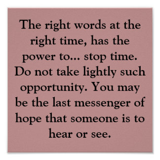 De juiste woorden in de juiste tijd, heeft powe… poster