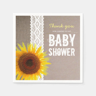 De Jute van de zonnebloem & haakt het Baby shower Papieren Servetten