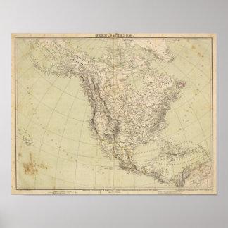 De Kaart die van de Atlas van Noord-Amerika Indisc Poster