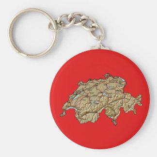 De Kaart Keychain van Zwitserland Sleutelhanger
