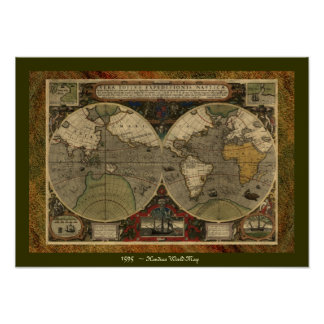 """De Kaart van """"1595 Wereld van"""" het Historische Poster"""