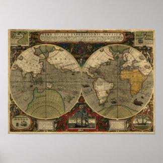 """De Kaart van """"1595 Wereld van"""" Historische Kaart Poster"""