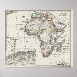 De Kaart van Afrika door Stieler Poster