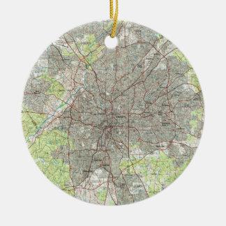 De Kaart van Atlanta Georgië (1981) Rond Keramisch Ornament