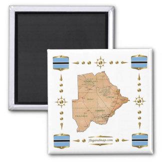 De Kaart van Botswana + De Magneet van vlaggen