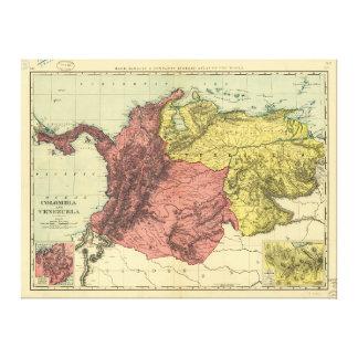 De Kaart van Colombia en van Venezuela (1898) Stretched Canvas Afdrukken