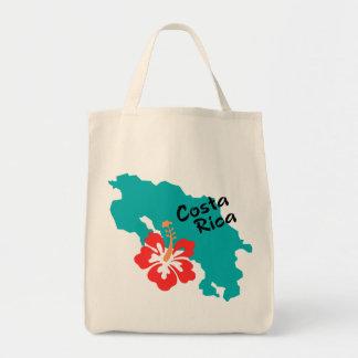 De kaart van Costa Rica met hibiscus Draagtas