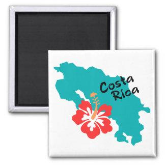 De kaart van Costa Rica met hibiscus Magneet