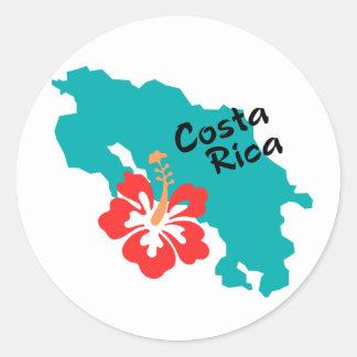 De kaart van Costa Rica met hibiscus Ronde Sticker