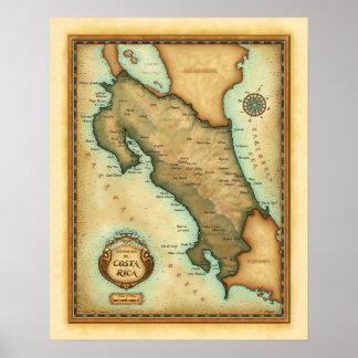De Kaart van Costa Rica Poster
