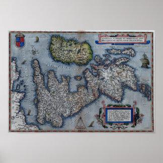 de Kaart van de 16de Eeuw van Engeland Poster