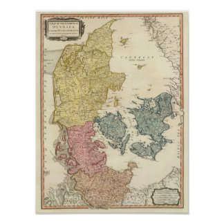 De Kaart van de Atlas van Denemarken Poster