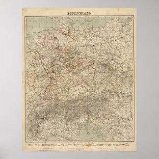 De Kaart van de Atlas van Duitsland Poster