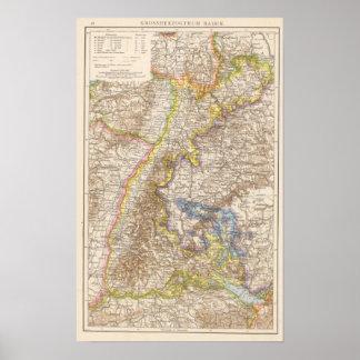 De Kaart van de Atlas van Duitsland van Baden Poster
